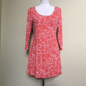 BODEN coral pink Floral knit L/S tunic dress 10 M